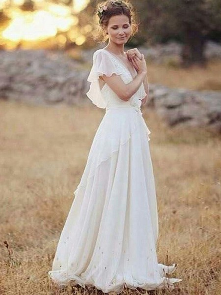 A-Line/Princess Chiffon V-neck Floor-Length Wedding Dresses with Ruched