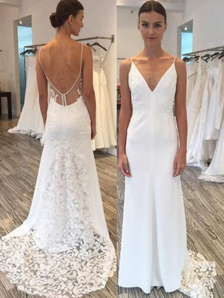 Sheath/Column Satin Spaghetti Straps Sweep/Brush Train Wedding Dresses with Lace
