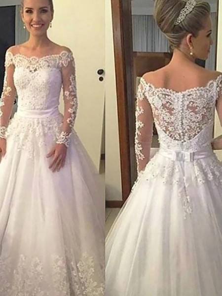 Ball Gown Tulle Off-the-Shoulder Court Train Wedding Dresses with Applique