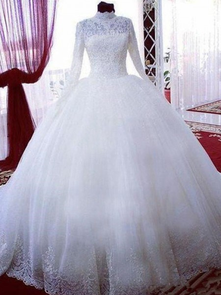 Ball Gown Tulle High Neck Chapel Train Wedding Dresses with Lace
