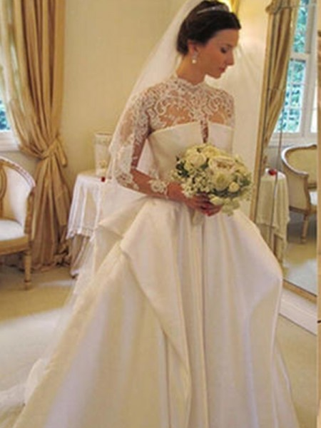 Ball Gown Satin High Neck Chapel Train Wedding Dresses with Lace