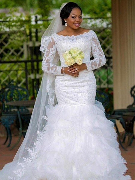 Trumpet/Mermaid Square Organza Chapel Train Wedding Dresses with Applique