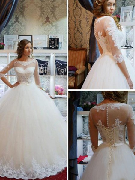 Ball Gown Tulle Scoop Floor-Length Wedding Dresses with Applique