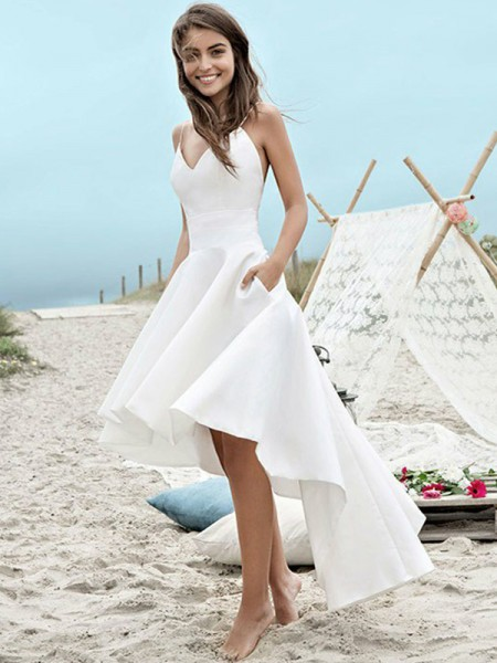 A-Line/Princess Satin Spaghetti Straps Asymmetrical Wedding Dresses with Ruched