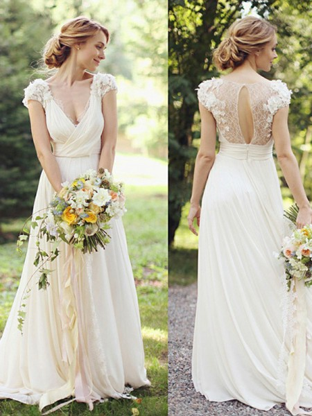 A-Line/Princess Chiffon V-neck Sweep/Brush Train Wedding Dresses with Ruched