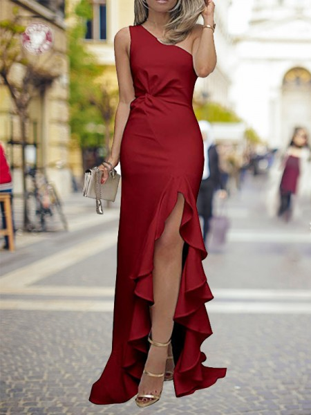 Sheath/Column One-Shoulder Sweep/Brush Train Silk like Satin Dresses with Ruffles