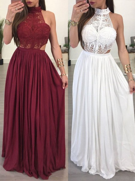 A-Line/Princess Halter Floor-Length Chiffon Dresses with Lace