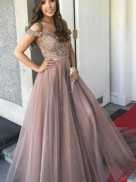 A-Line/Princess Off-the-Shoulder Floor-Length Tulle Dresses with Beading