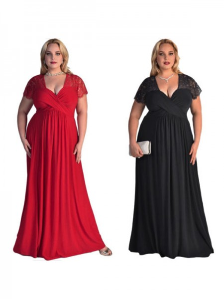 A-Line/Princess V-neck Floor-Length Chiffon Plus Size Dresses with Lace