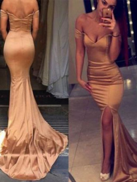 Trumpet/Mermaid Off-the-Shoulder Court Train Satin Dresses