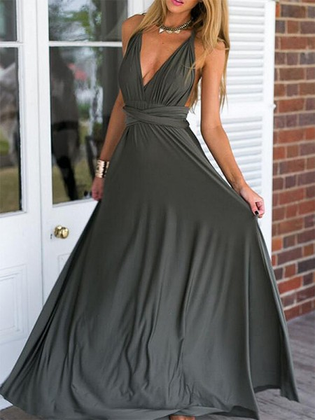 Empire V-neck Floor-Length Chiffon Dresses with Ruffles