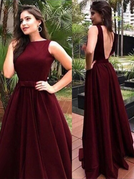 A-Line/Princess Bateau Floor-Length Velvet Dresses with Sash/Ribbon/Belt