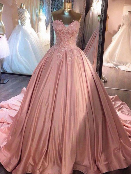 Ball Gown Sweetheart Court Train Satin Dresses with Lace