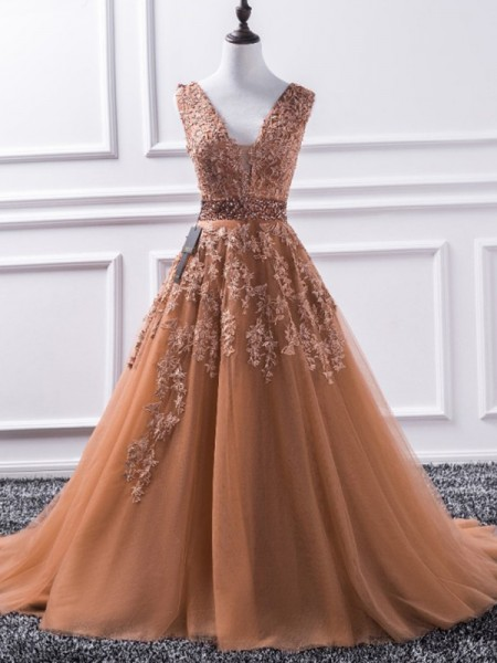 A-Line/Princess V-neck Sweep/Brush Train Tulle Dresses with Applique