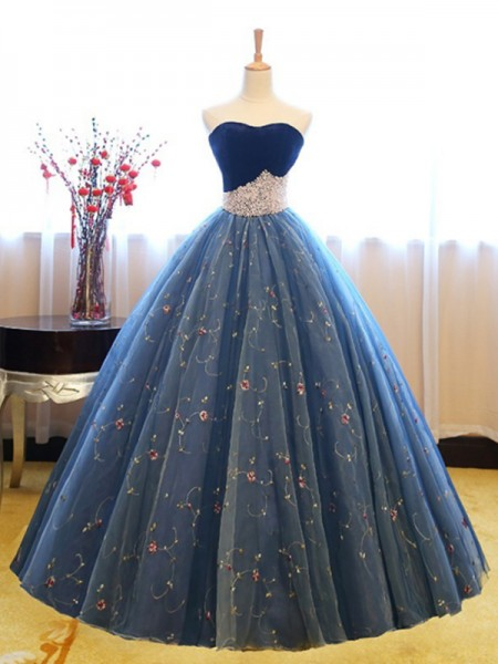 Ball Gown Sweetheart Floor-Length Net Dresses with Beading