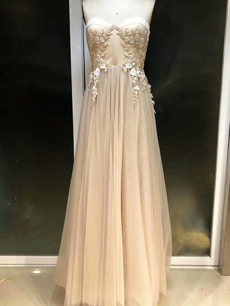 Empire Sweetheart Floor-Length Tulle Dresses with Applique