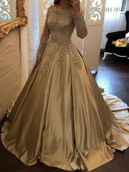 Ball Gown Off-the-Shoulder Sweep/Brush Train Satin Dresses with Applique