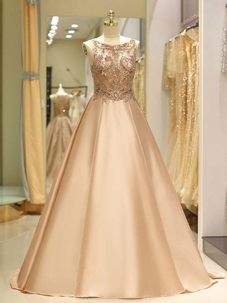 Ball Gown Bateau Sweep/Brush Train Satin Dresses with Beading