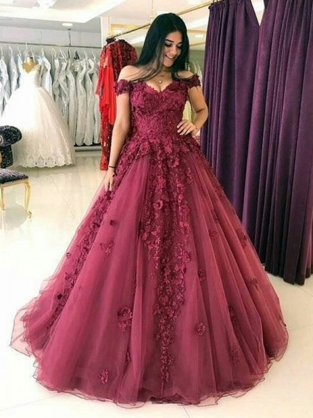 Ball Gown Off-the-Shoulder Sweep/Brush Train Tulle Dresses with Applique