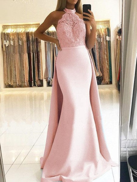 Trumpet/Mermaid Halter Sweep/Brush Train Satin Dresses with Lace