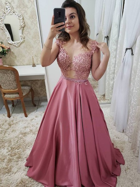 A-Line/Princess Scoop Floor-Length Satin Dresses with Applique