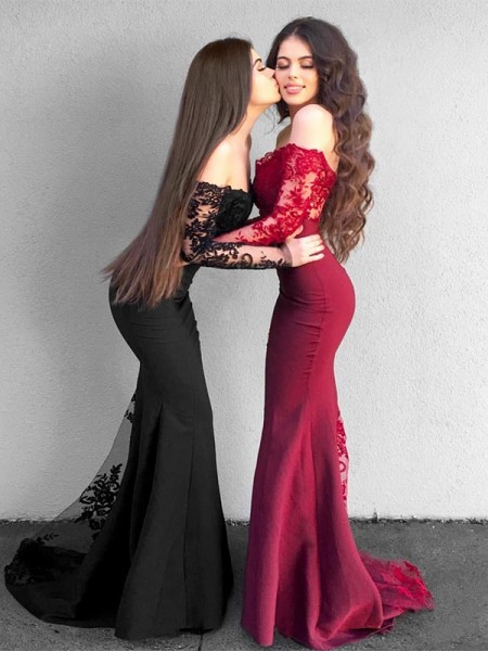 Trumpet/Mermaid Off-the-Shoulder Sweep/Brush Train Satin Dresses with Applique
