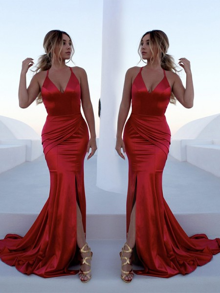 Trumpet/Mermaid Halter Sweep/Brush Train Satin Dresses with Ruffles