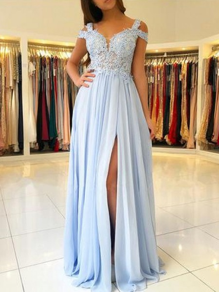 A-Line/Princess Off-the-Shoulder Floor-Length Chiffon Dresses with Applique