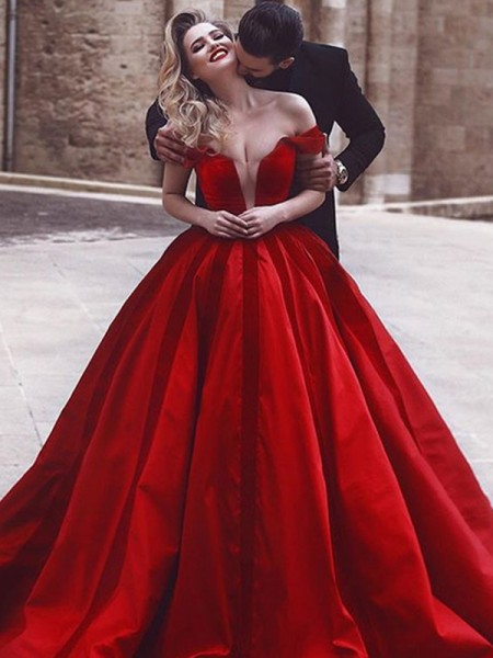 Ball Gown Off-the-Shoulder Sweep/Brush Train Satin Dresses with Ruffles