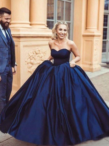 Ball Gown Sweetheart Sweep/Brush Train Satin Dresses with Ruffles