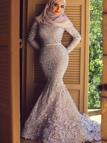 Trumpet/Mermaid Scoop Sweep/Brush Train Lace Muslim Dresses with Ruffles