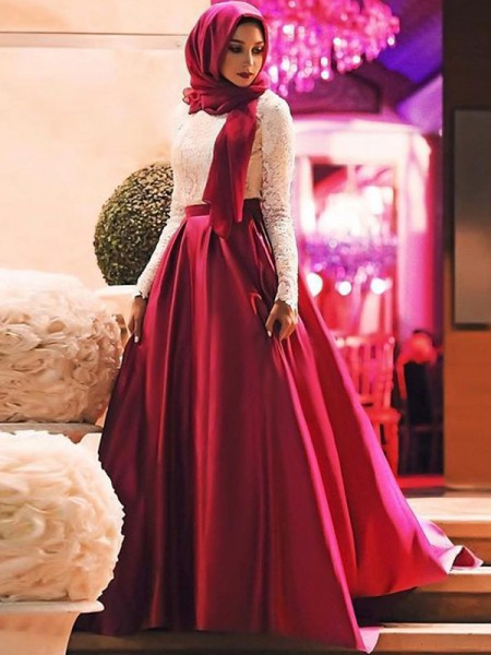 A-Line/Princess Scoop Sweep/Brush Train Satin Muslim Dresses with Lace