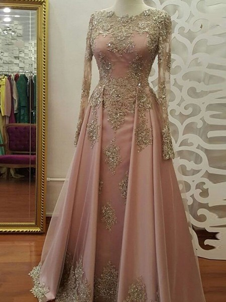 A-Line/Princess Scoop Floor-Length Tulle Muslim Dresses with Applique