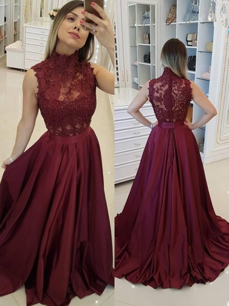 A-Line/Princess High Neck Sweep/Brush Train Satin Dresses with Applique