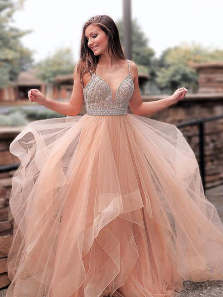 A-Line/Princess Straps Sweep/Brush Train Tulle Dresses with Beading