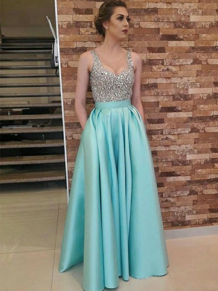 A-Line/Princess V-neck Floor-Length Satin Dresses with Beading