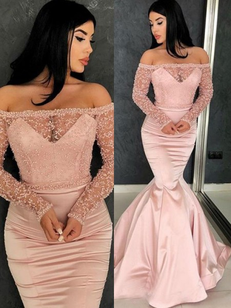 Trumpet/Mermaid Off-the-Shoulder Sweep/Brush Train Satin Dresses with Ruffles