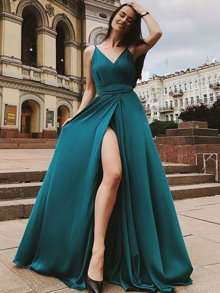 A-Line/Princess Straps Sweep/Brush Train Satin Chiffon Dresses with Ruffles