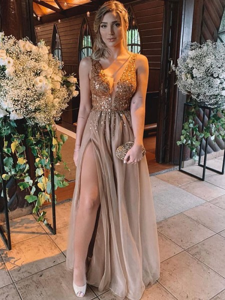 A-Line/Princess Sleeveless V-neck Floor-Length Tulle Dresses with Rhinestone