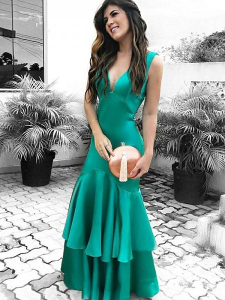 Sheath/Column Sleeveless V-neck Floor-Length Satin Dresses with Ruffles