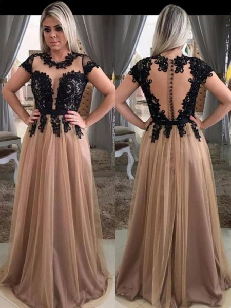 A-Line/Princess Short Sleeves Scoop Sweep/Brush Train Tulle Dresses with Applique