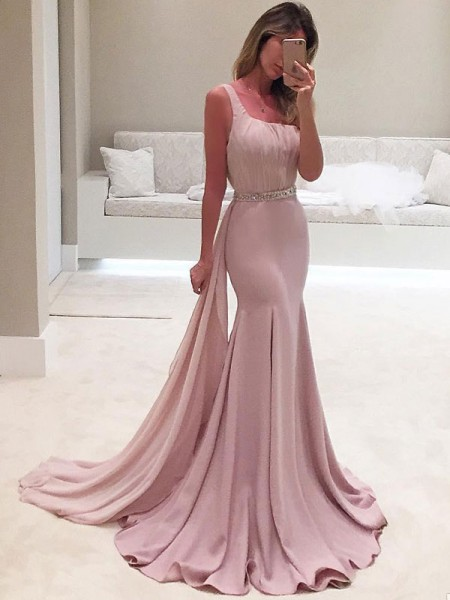 Trumpet/Mermaid Sleeveless One-Shoulder Sweep/Brush Train Chiffon Dresses with Ruffles