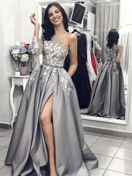 A-Line/Princess Sleeveless One-Shoulder Sweep/Brush Train Satin Dresses with Applique