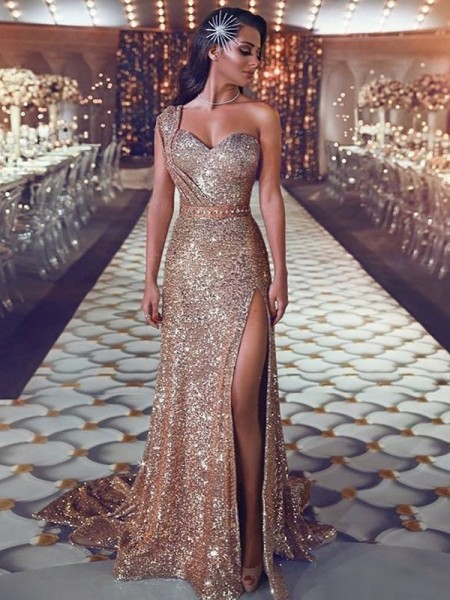 Sheath/Column Sleeveless One-Shoulder Sweep/Brush Train Sequins Dresses with Beading
