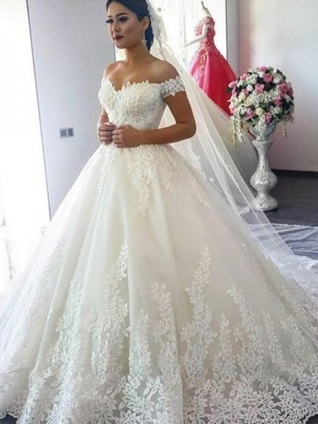 Ball Gown Off-the-Shoulder Sleeveless Sweep/Brush Train Tulle Wedding Dresses with Lace