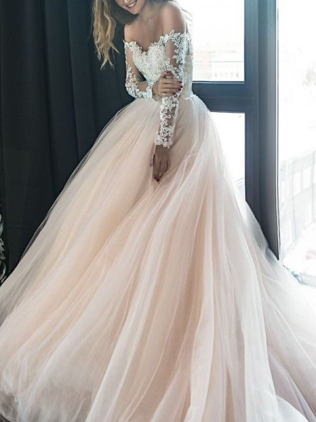 A-Line/Princess Off-the-Shoulder Long Sleeves Court Train Tulle Wedding Dresses with Applique