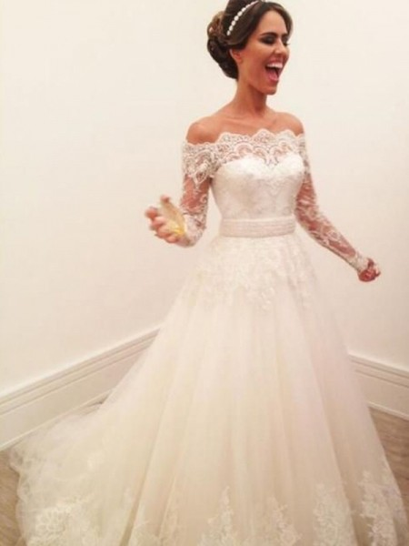 A-Line/Princess Off-the-Shoulder Long Sleeves Sweep/Brush Train Tulle Wedding Dresses with Lace