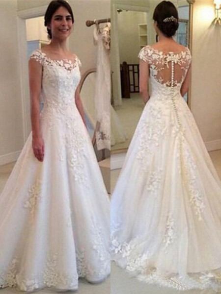A-Line/Princess Scoop Sleeveless Sweep/Brush Train Tulle Wedding Dresses with Lace
