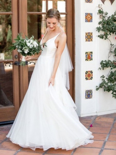 A-Line/Princess V-neck Sleeveless Sweep/Brush Train Tulle Wedding Dresses with Ruffles