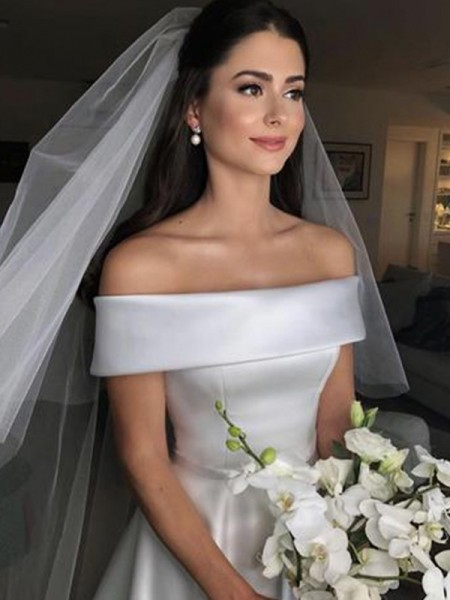 A-Line/Princess Off-the-Shoulder Sleeveless Sweep/Brush Train Satin Wedding Dresses with Ruffles